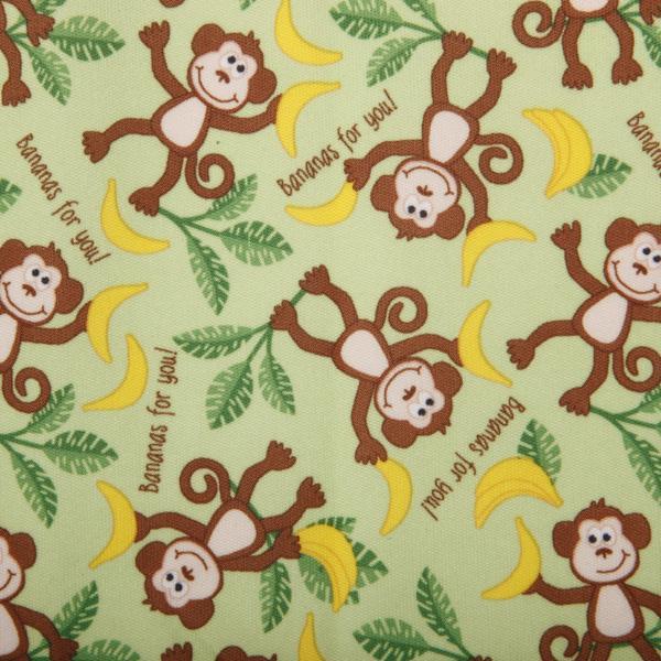 Playful Friends Monkeys PUL Fabric